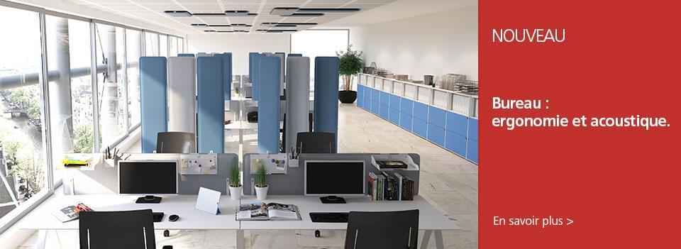 Ergonomie et acoustique - LMC propose une approche ergonomique du bureau en enrichissant sa gamme de piétements électriques, de panneaux acoustiques et d'accessoires de bureau.