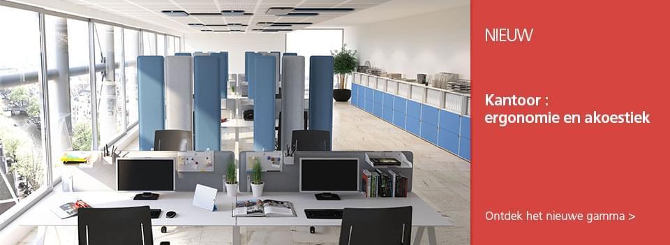Kantoor : ergonomie en akoestiek  - LMC presenteert u de nieuwste oplossingen, elektrische bureau-onderstellen, akoestische panelen en kantooraccessoires voor ergonomische werkplekken die uitnodigen tot samenwerking.
