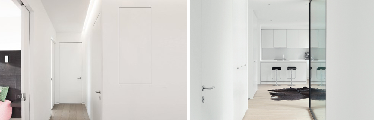 Oplossingen voor deuren in gelijkliggend vlak en inbouwschuifdeuren