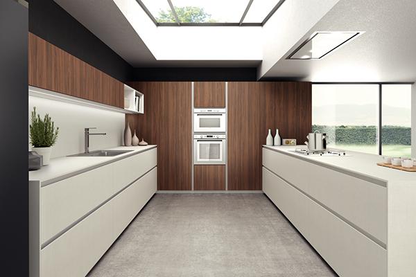 cuisine blanche avec profil prise de main horizontal