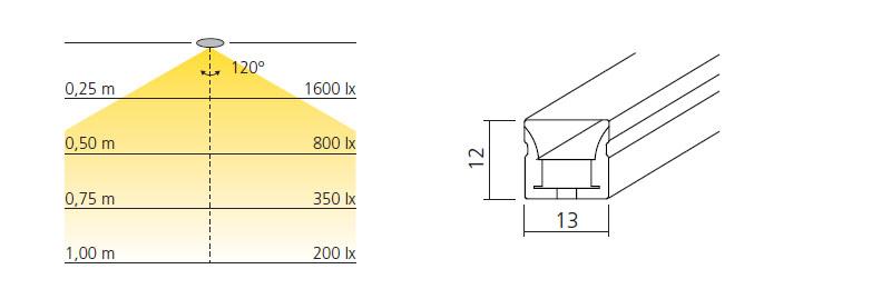 technische Zeichnung flexible led top wave