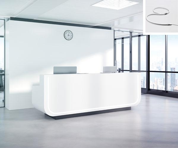 bureau accueil avec flexible led wave encastre