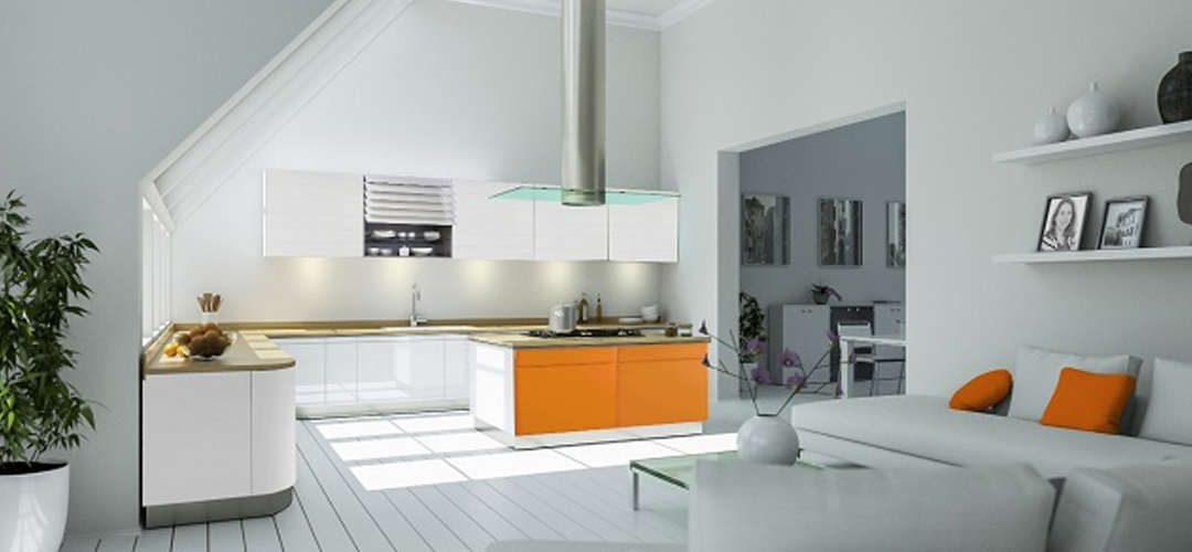 Cuisine moderne design et colorée ouverte sur le salon