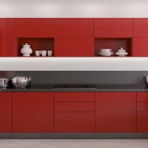 Facades de cuisine en relief rouge