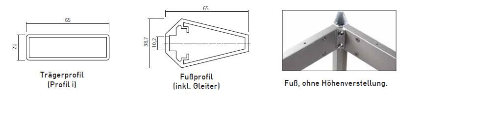schema Frame Trägerprofil und Fussprofil