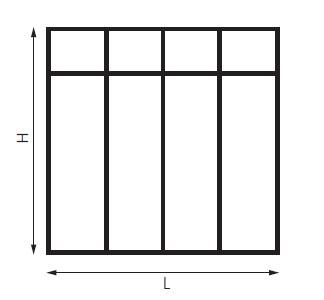 schéma cloison verriere avec une traverse horizontale