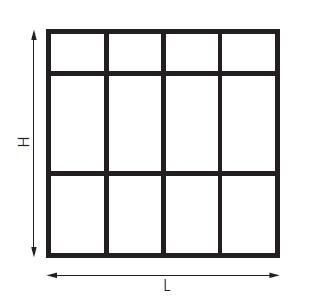 schéma cloison verriere avec deux traverses horizontales