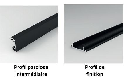 profil parclose intermediaire et profil de finition