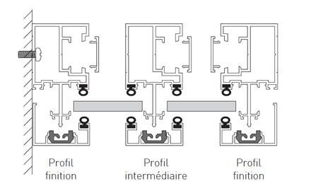 schema assemblage different profils pour cloison verriere